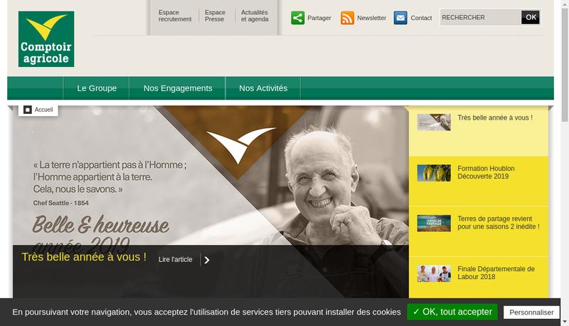 Capture d'écran du site de Comptoir Agricole Achat Vente