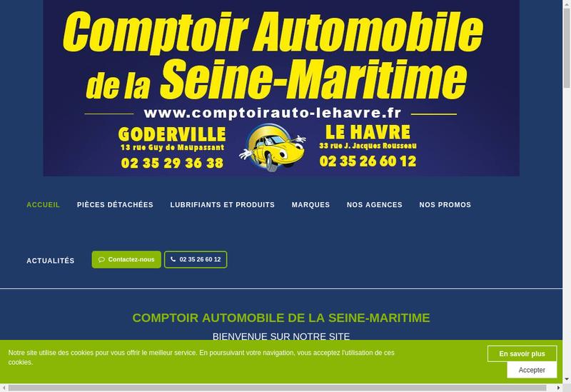 Capture d'écran du site de Comptoir Automobile du Havre