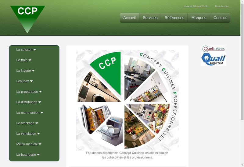 Capture d'écran du site de Concept Cuisines Professionnelles
