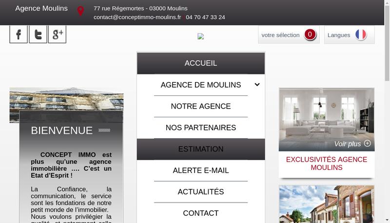 Capture d'écran du site de Concept Immo