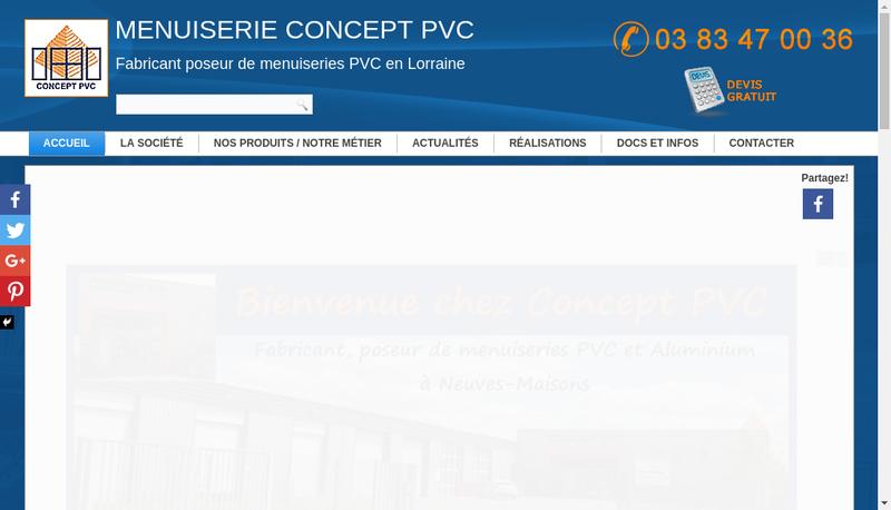 Capture d'écran du site de Concept Pvc
