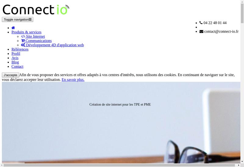 Capture d'écran du site de Connect Io