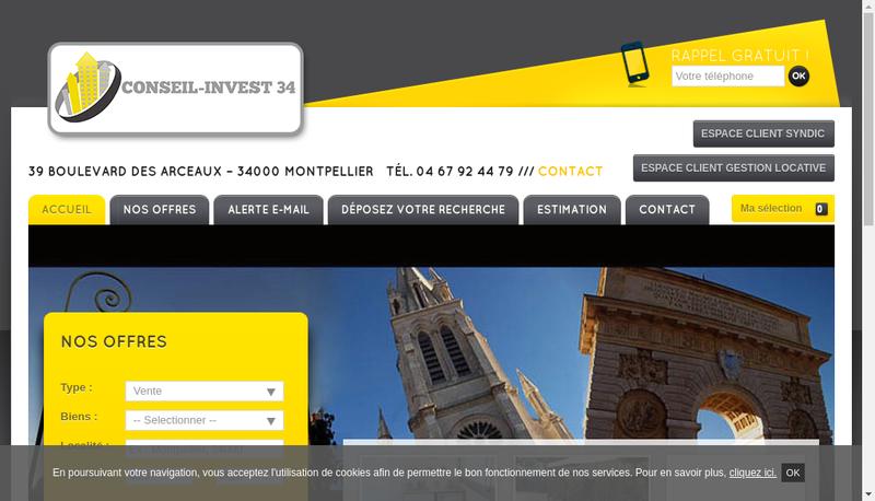 Capture d'écran du site de Conseil Invest 34