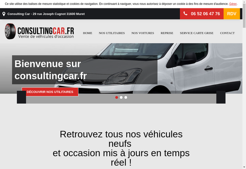 Capture d'écran du site de Consulting Car