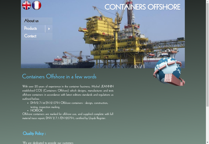 Capture d'écran du site de Containers Offshore