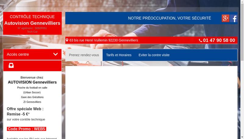 Capture d'écran du site de Autovision