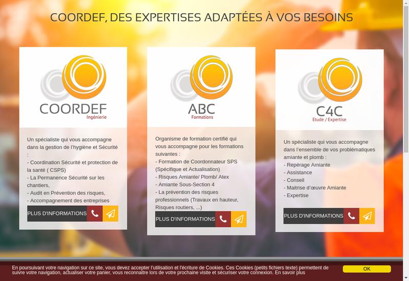 Capture d'écran du site de Coordef Ingenierie