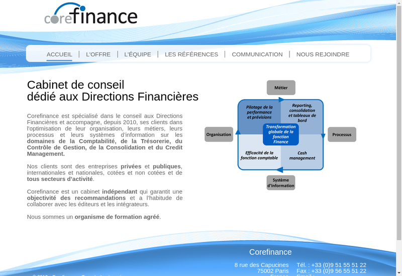Capture d'écran du site de Corefinance