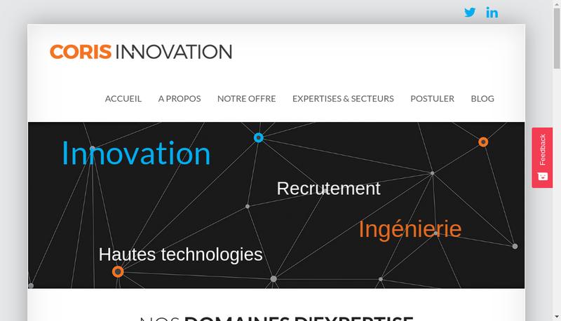 Capture d'écran du site de Coris Innovation