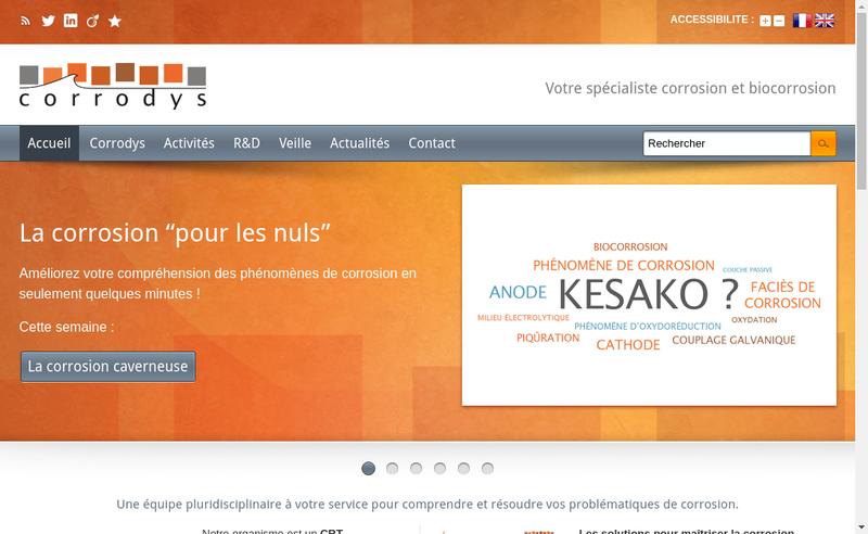 Capture d'écran du site de Corrodys