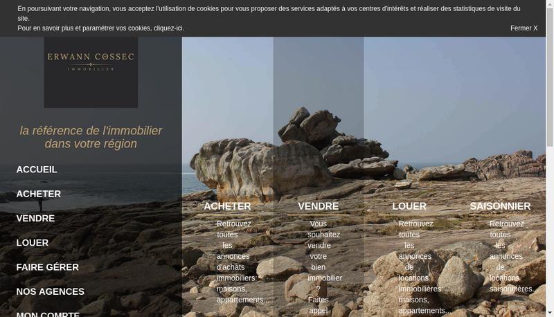 Capture d'écran du site de Erwann Cossec Cabinet Immobilier