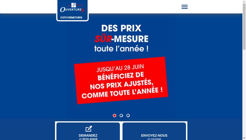 Capture d'écran du site de Cote Fermetures Fenetres Volets Portes