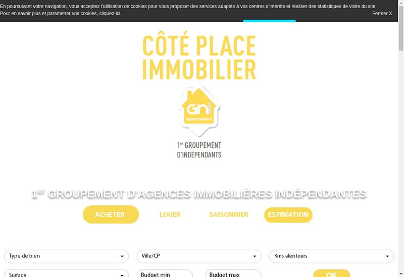 Capture d'écran du site de Agence Cote Place