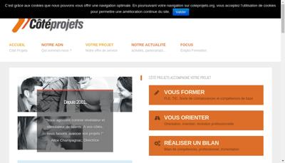 Capture d'écran du site de Cote Projets