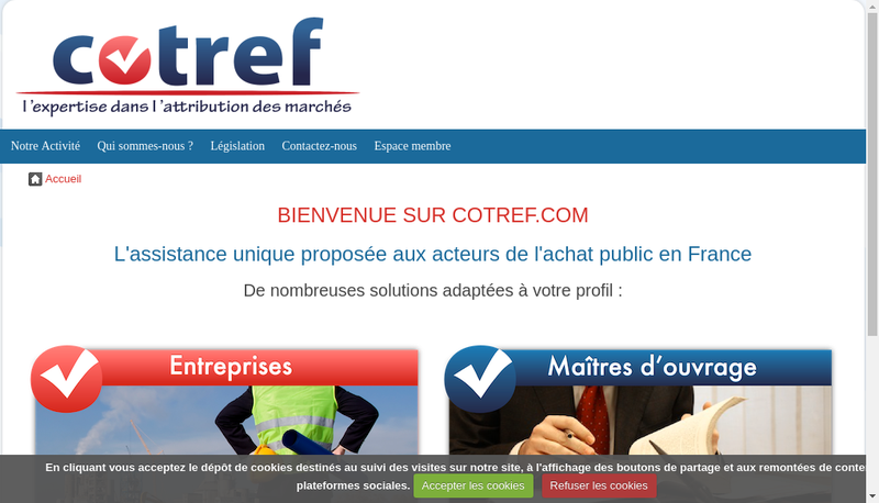 Capture d'écran du site de Cotref