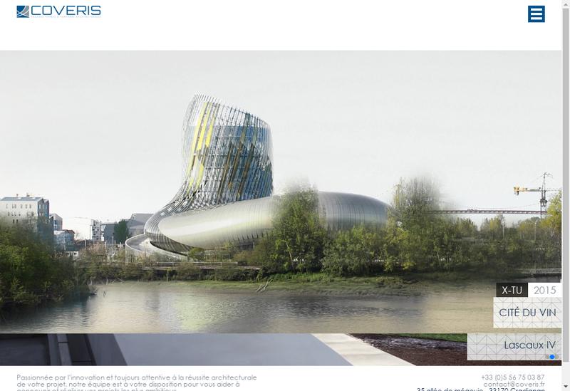 Capture d'écran du site de Coveris
