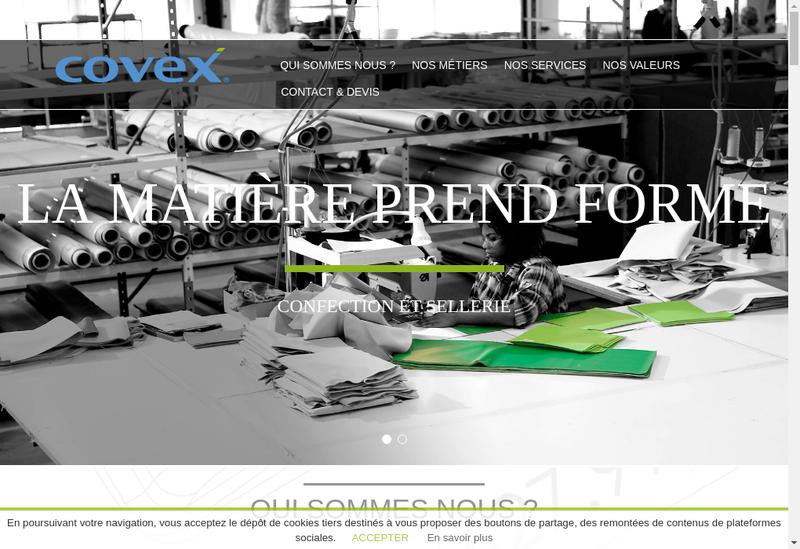 Capture d'écran du site de Covex