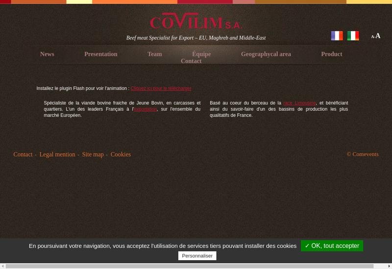 Capture d'écran du site de Covilim