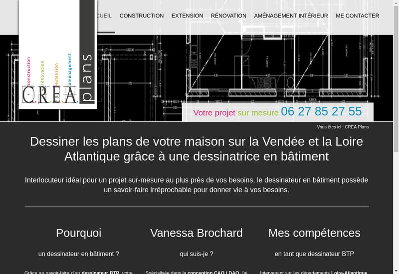 Capture d'écran du site de CREA Plans