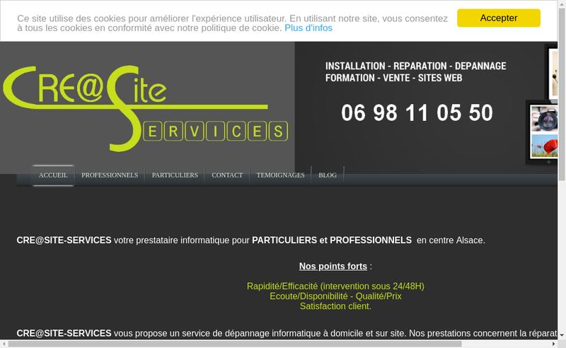Capture d'écran du site de Cre@Site-Services