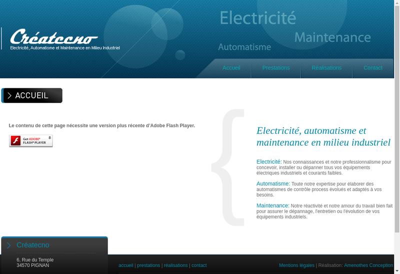 Capture d'écran du site de Createcno