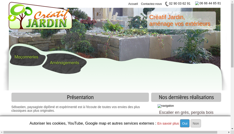 Capture d'écran du site de SARL Creatif Jardin