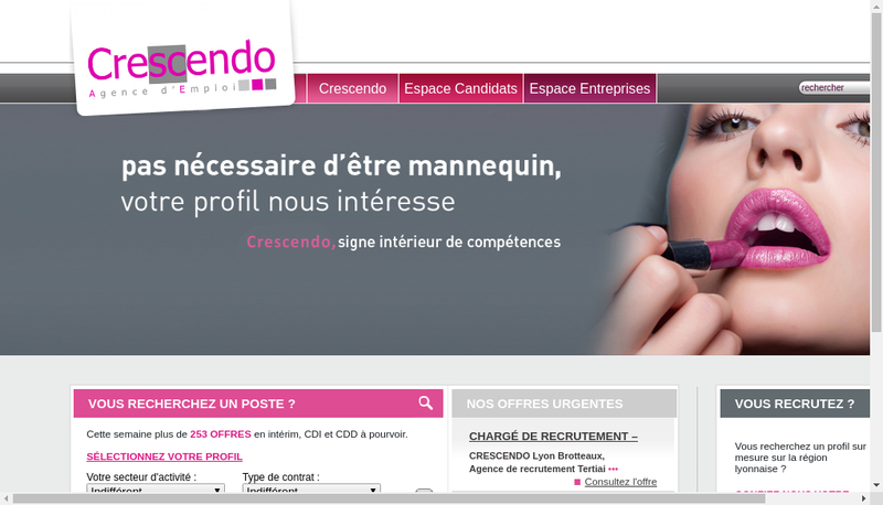 Capture d'écran du site de Crescendo