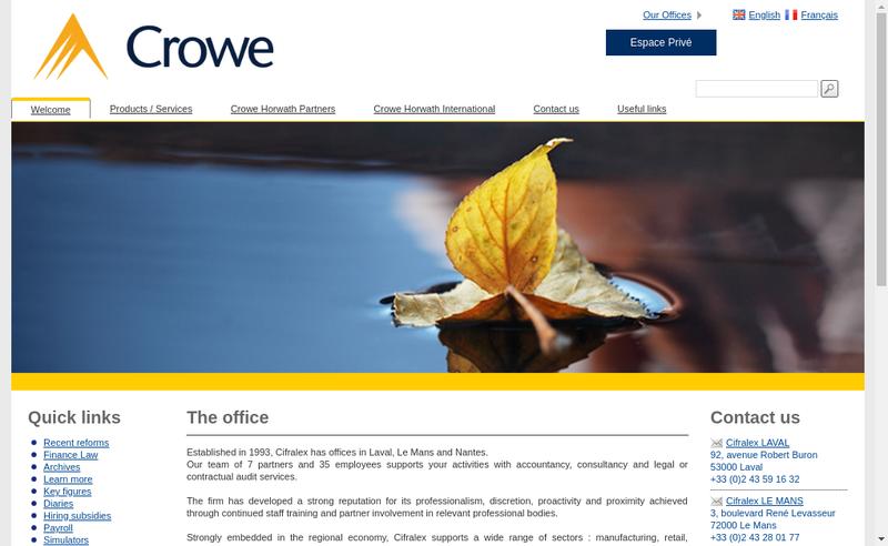 Capture d'écran du site de Cifralex Compagnie Francaise d'Audit Legal et d'Expertise Comptable