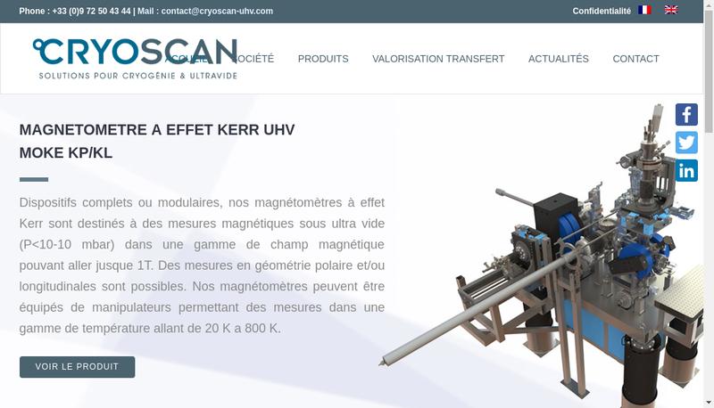 Capture d'écran du site de Cryoscan