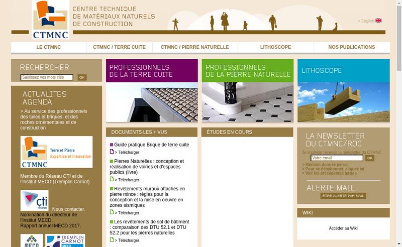 Capture d'écran du site de Centre Technique de Materiaux Naturels de Construction