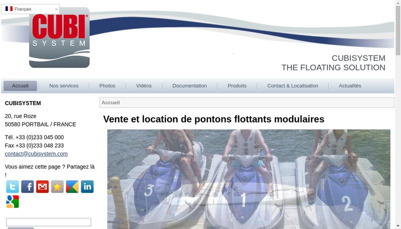 Capture d'écran du site de Cubisystem