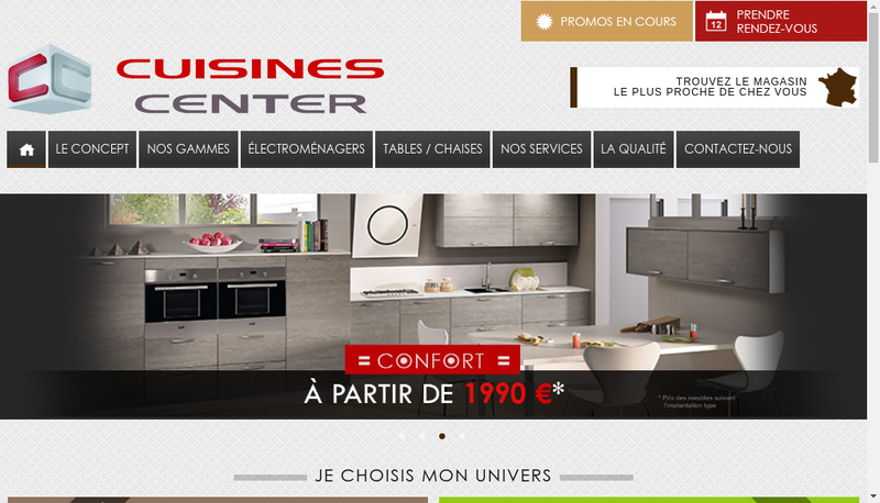 Capture d'écran du site de Cuisines Center