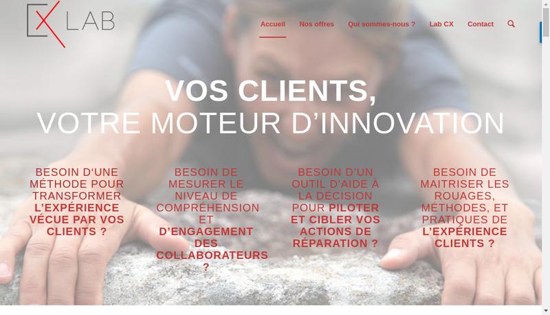 Capture d'écran du site de CX Lab