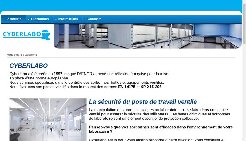 Capture d'écran du site de Cyberlabo