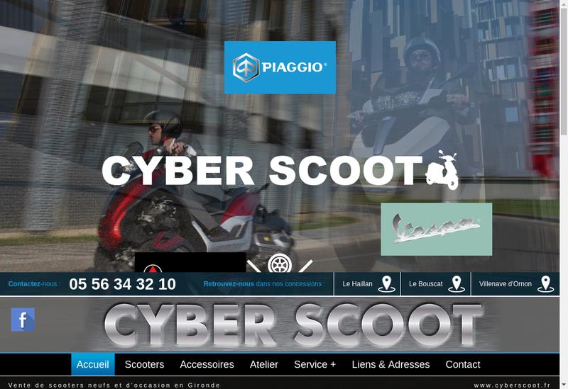 Capture d'écran du site de Cyber Scoot