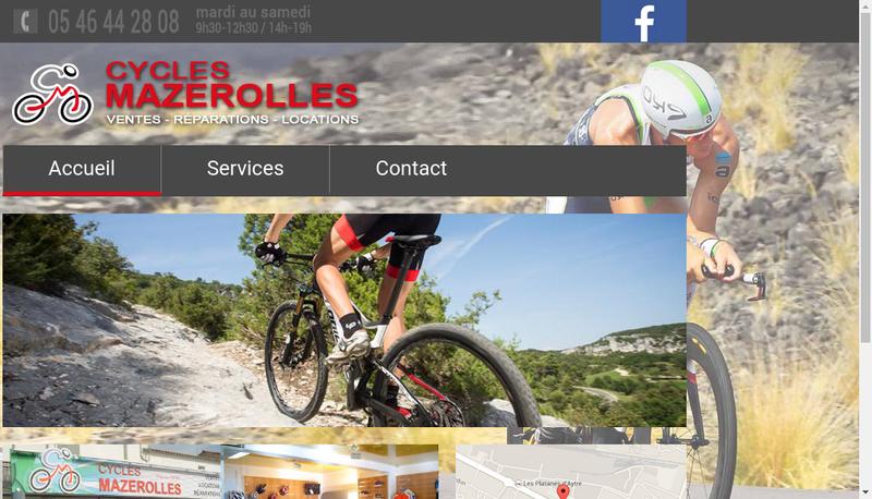 Capture d'écran du site de Cycles Mazerolles
