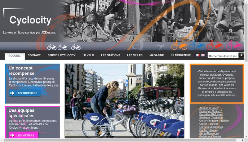 Capture d'écran du site de Cyclocity