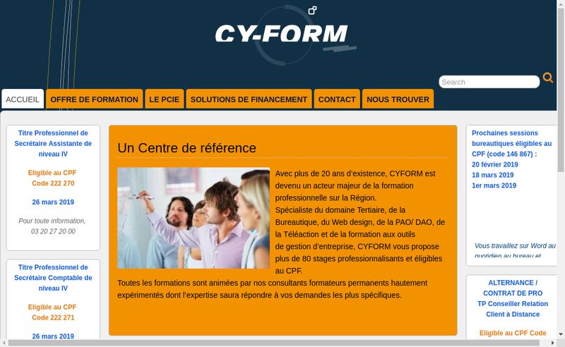 Capture d'écran du site de Cy-Form