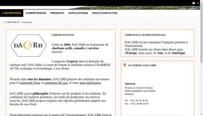 Capture d'écran du site de Dacarb