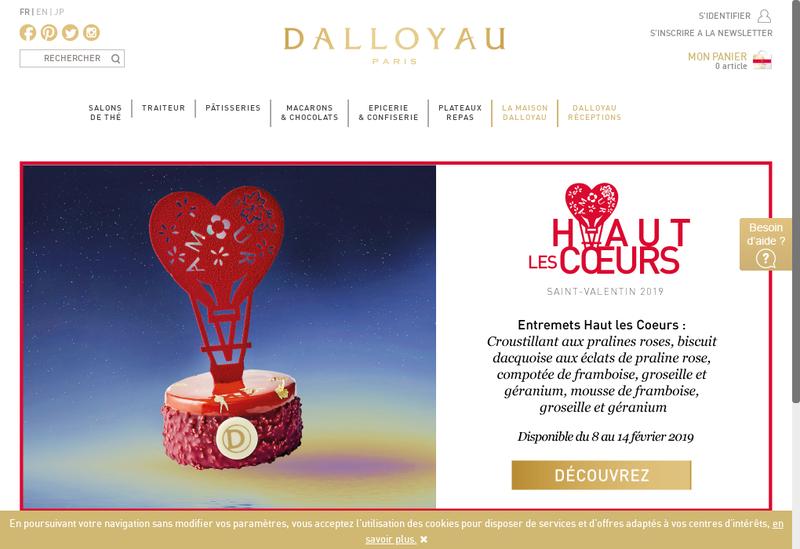 Capture d'écran du site de Dalloyau