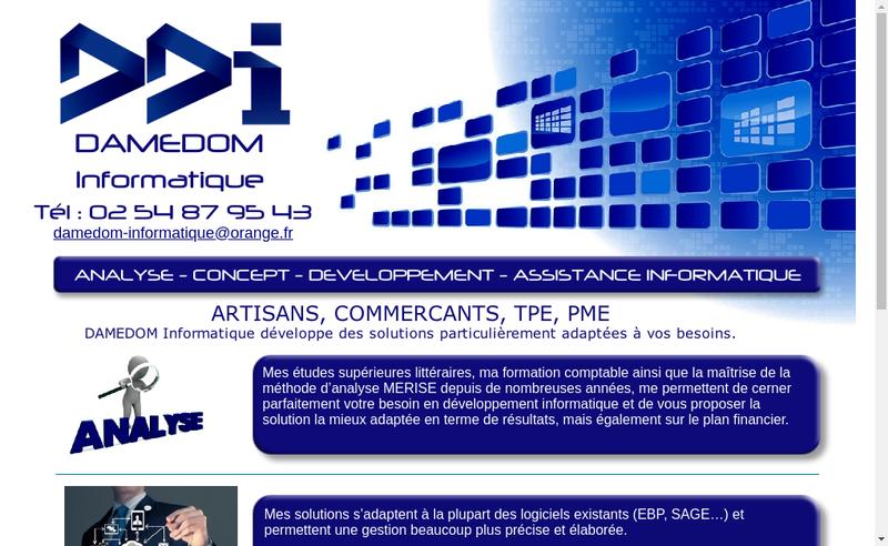 Capture d'écran du site de Damedom Informatique