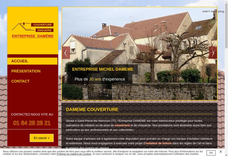 Capture d'écran du site de Entreprise Michel Dameme