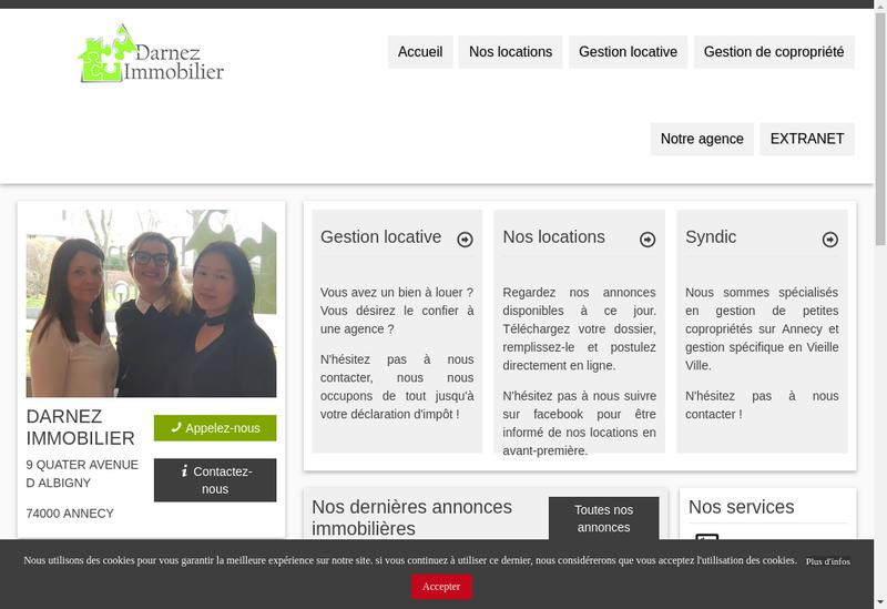 Capture d'écran du site de Darnez Immobilier