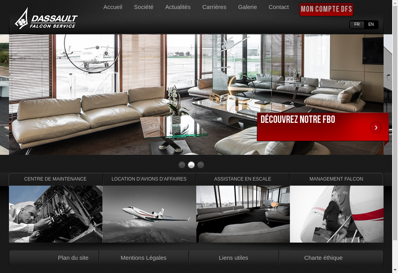 Capture d'écran du site de Dassault Falcon Service