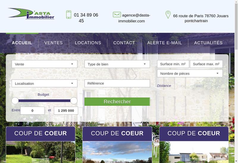 Capture d'écran du site de D'Asta Immobilier