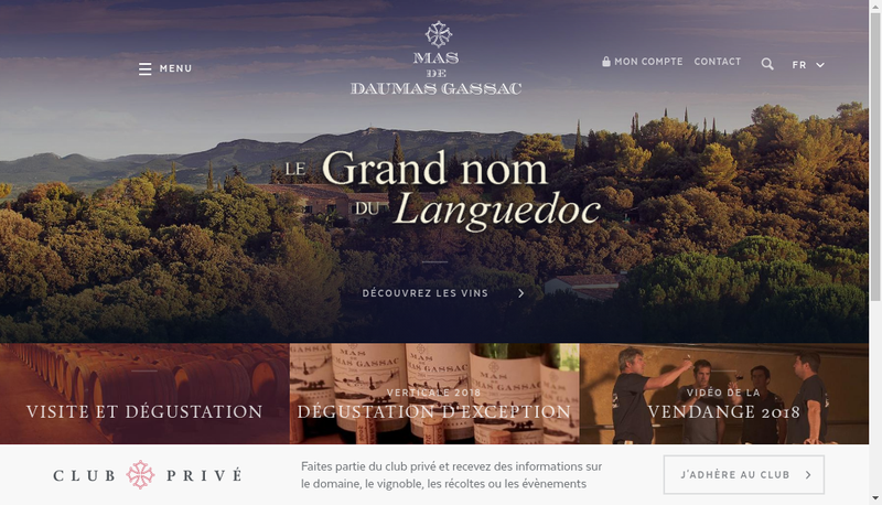 Capture d'écran du site de Moulin de Gassac