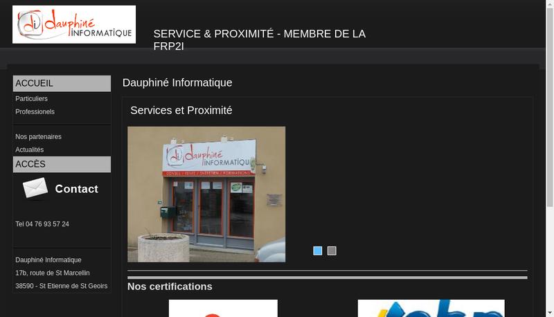 Capture d'écran du site de Dauphine Informatique