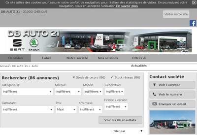 Capture d'écran du site de Db Auto 21