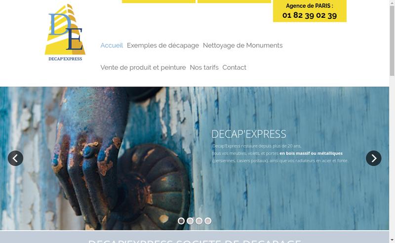 Capture d'écran du site de Decap'Express