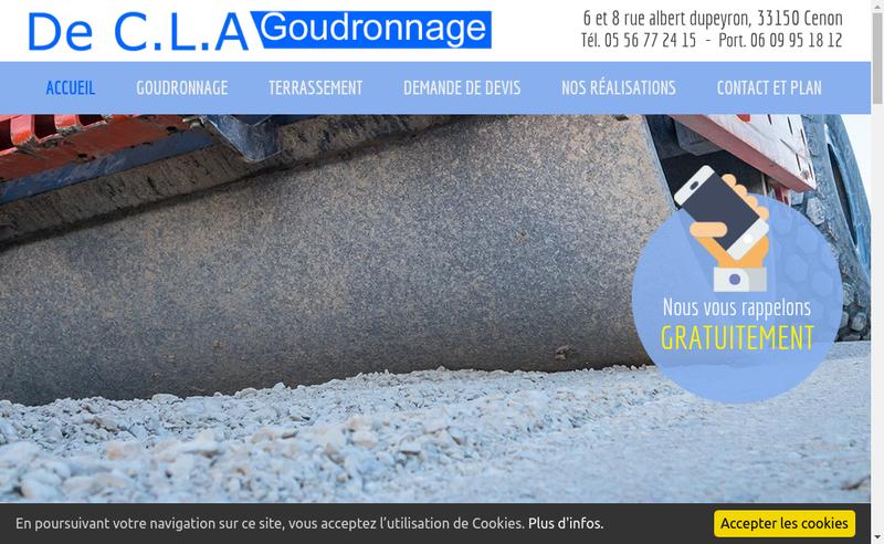 Capture d'écran du site de De Cla Goudronnage